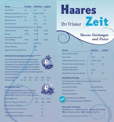 Preisliste Haareszeit Vorder- + Rückseite