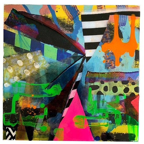 Acrylic, collage  resin on Aluminium 2