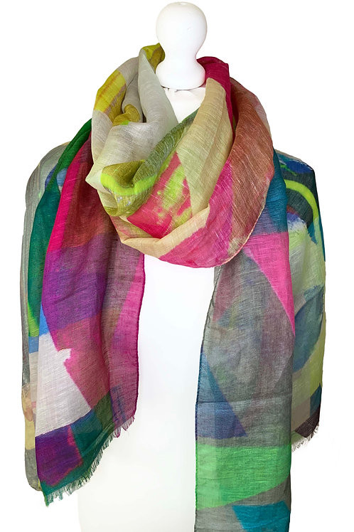 Linen/model/silk scarf 6