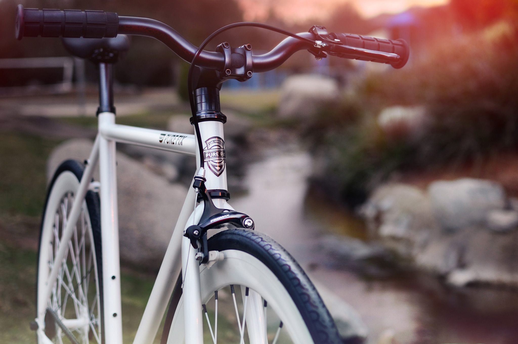 pov of a white bicycle