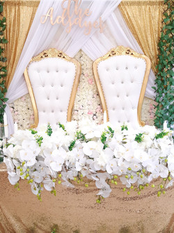 Stage Decor With Gold Throne Chairs