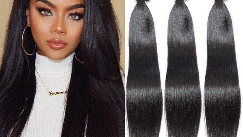 Silky Straight Human Hair Weft Extensions #1B