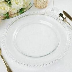 Clear Beaded Charger Plates