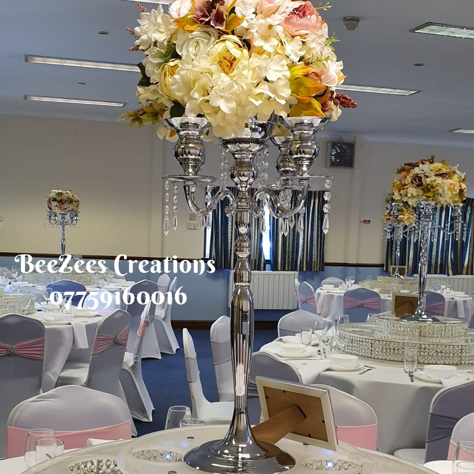 5-Arm Wide Brim Stainless Steel Silver Candelabra