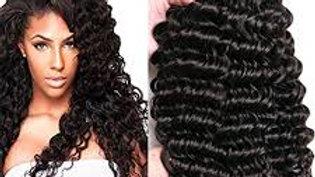 Deep Curls Human Hair Weft Extensions #1B