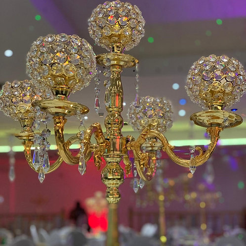 75cm 5-Arm Crystal Candelabra Centerpiece