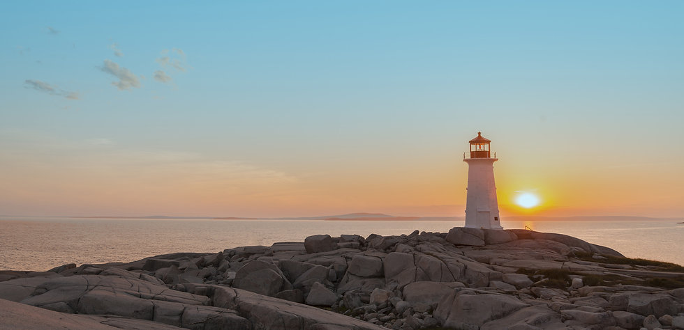 Peggy's Cove lighthouse at sunrise. The ligthouse represents the Pharosity Consulting brand as a managed markets consulting leader.