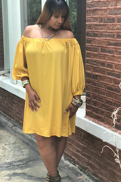 Color Me Happy Off Shoulder Swing Dress-One Size