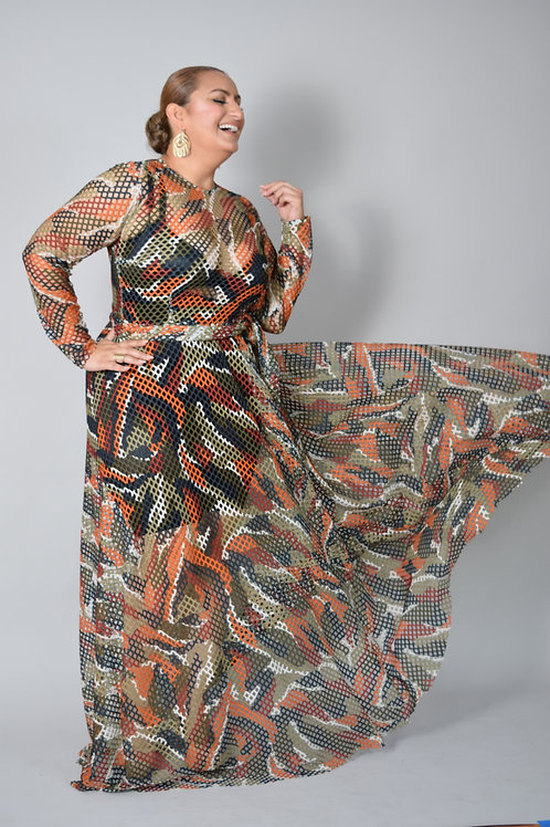 Tropical Safari Maxi Train Dress-one size