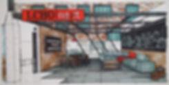 La LCBO next laboratoire d'innovation. Un tableau noir à la gauche affiche les mots Innovation, Équipe et communauté. A la droite est une table en verre entoure par quatre selles. Un canapé est à la droite du table et reste contre un mur qui affiche une photo des processus de fraisage pour la bière. Un signe néon pend des puits du plafond et se lit LCBO next.