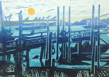 'Evening at Blackshore'. Linoprint. Fram
