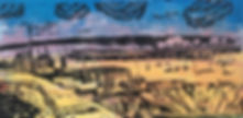 'Sparkling Aldburgh'. Linoprint. Framed.