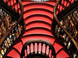 Red Staircase, Livraria LELLO, Porto, Portugal