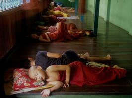 Sleeping novices Mandalay Burma
