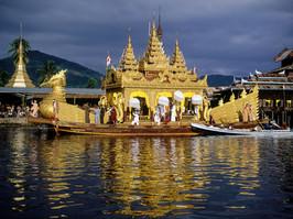Buddhist procession Lake Inle Burma
