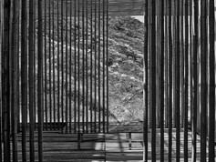 Great Wall China, Kengo Kuma, bamboo wall, 2001.B&W.JPG