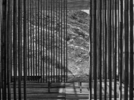 Great Wall China, Kengo Kuma, bamboo wall, 2001.B&W.JPG