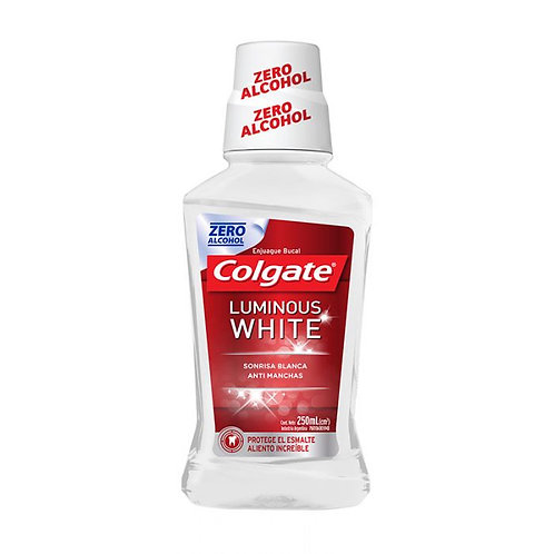 Colgate Plax  enjuague bucal luminous white xd zero alcohol x250