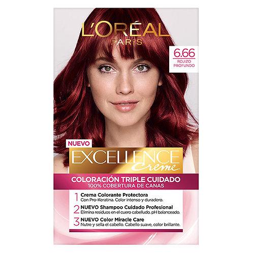 Excellence Creme Color Triple Cuidado 6.66 Rojo Profundo