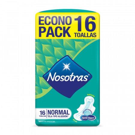 Nosotras - toallas natural plus tela tipo algodon x 16 unid.