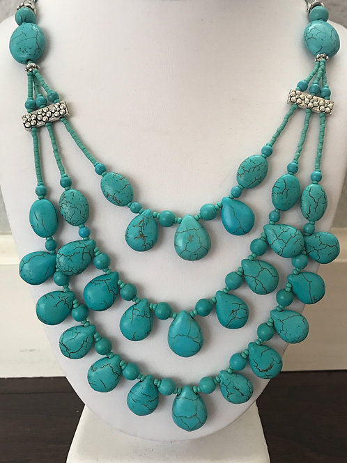 """Turquoise Multi-Stranded 22"""" Necklace"""