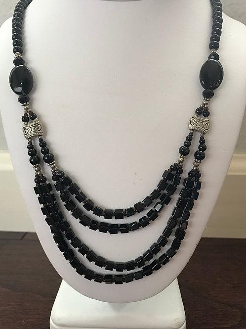 "Black Oval Stranded 22"" Necklace"