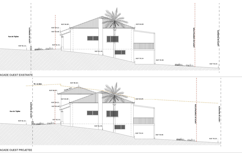 Façades ouest existante et projet