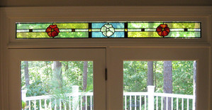 Red and Clear Pansy Transom