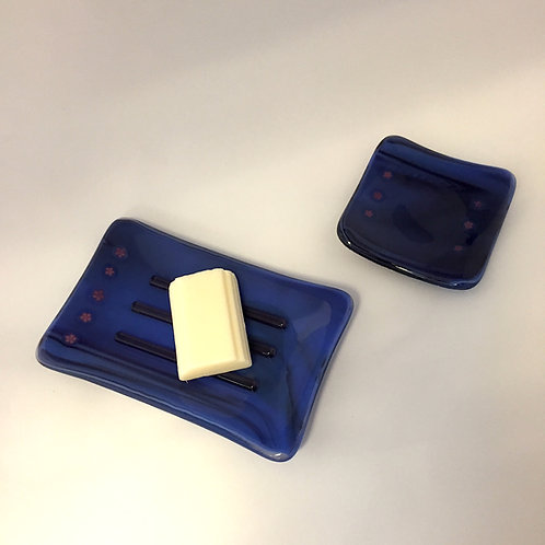 Blue Soap Dish and Matching Ring Tray Set