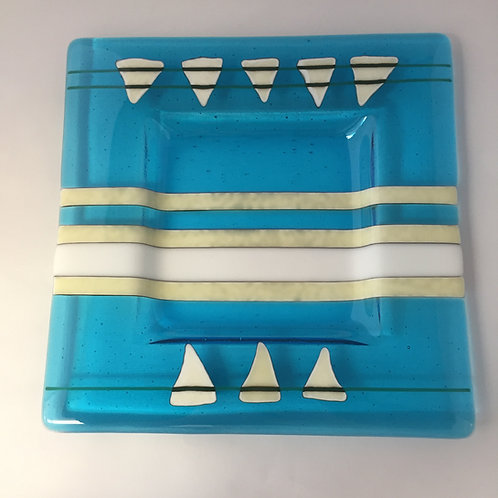 Turquoise, White & French Vanilla Stripes with Triangles Serving Platter