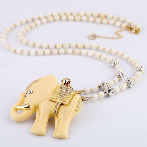 Vintage Elephant Beaded Necklace (Long)