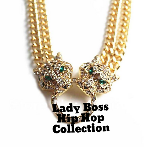 Two headed Leopard necklace