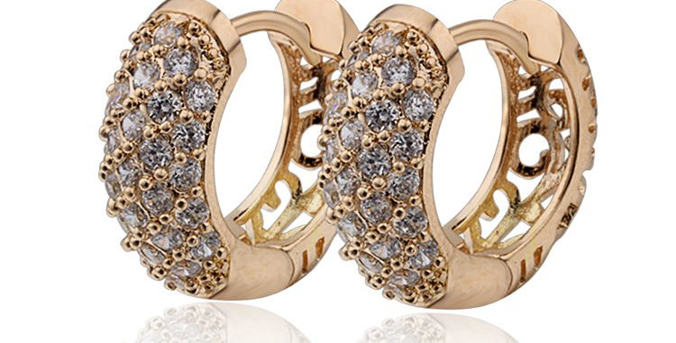 High Quality 18K Gold Plated Zircon Earrings