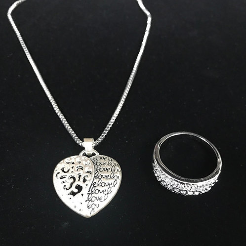 Silver Heart Necklace & Ring Set