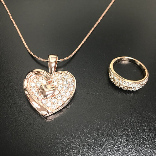 Rose Gold Valentine Set (Necklace & Ring)