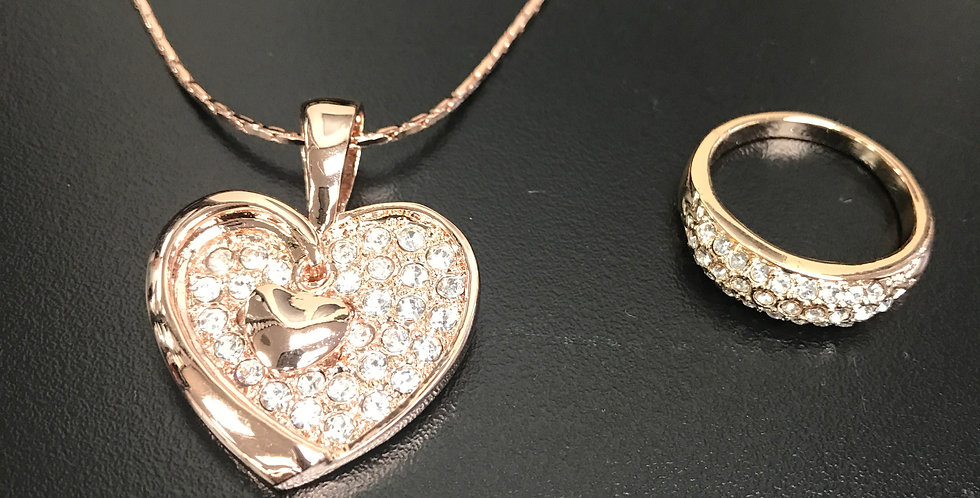 Rose Gold Valentine Set (Necklace & Ring)