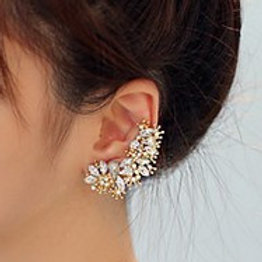 Exquisite Crystal Flower Earring Cuff
