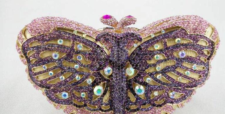 Butterfly Multi Purple/Pink Crystal Clutch