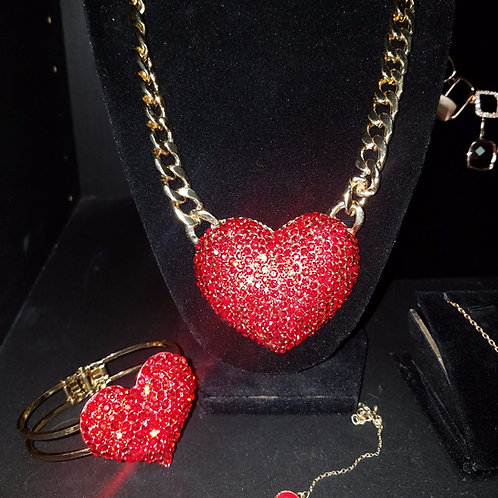Over sized Red Bling Heart Necklace