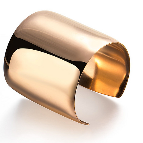 Wide Cuff Bangle (Silver Or Gold)