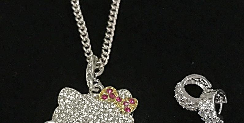 Kitty Bling Necklace/Earrings
