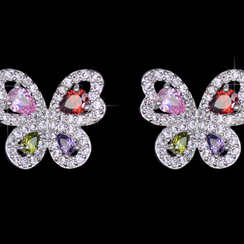 Multi Colored CZ Butterfly Earrings