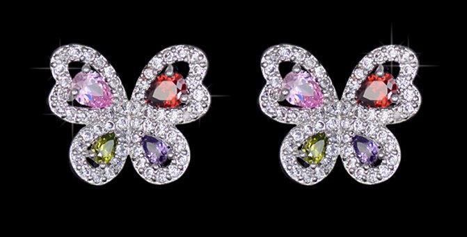 Multi Colored CZ Butterfly Earrings