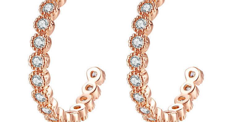 Zircon Champagne Hoop Earrings