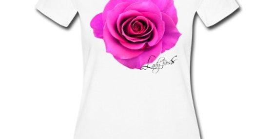 White TShirt Hot Pink Rose