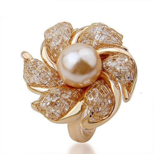 Crystal Pearl Ring