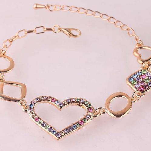 14K Gold Plated Crystal Heart Bracelet