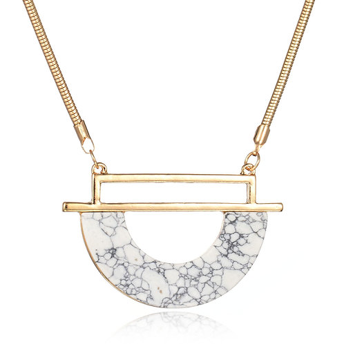 Necklace Marble Circle Pendant