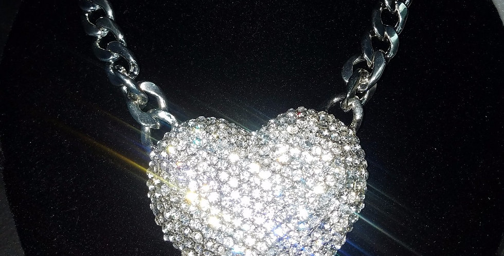 Oversized Bling Heart Necklace