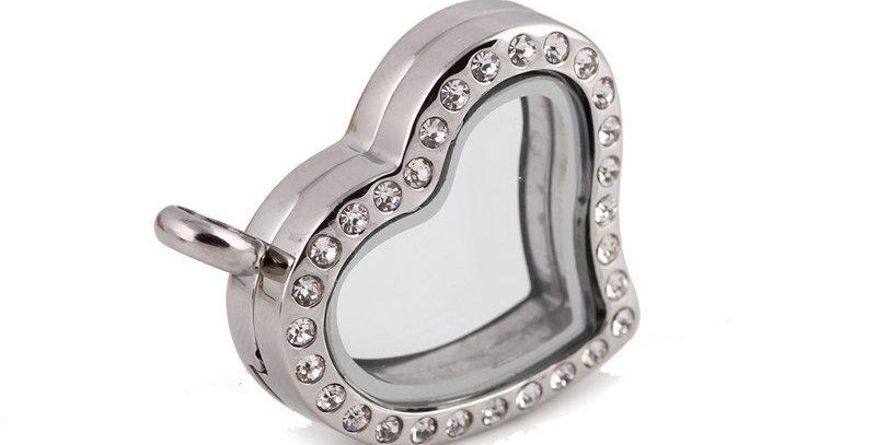 Silver Clear Stone Heart Locket